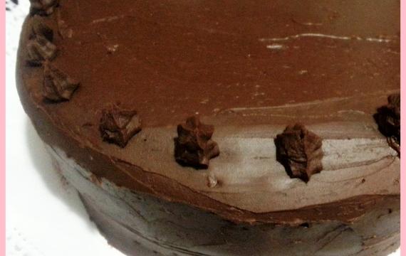 Tarta con ganaché de chocolate