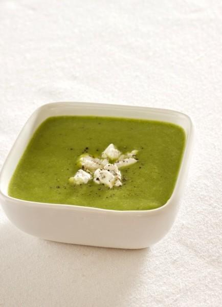 Sopa crema de brócoli y queso de cabra