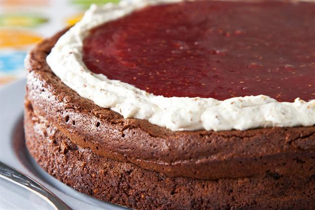Torta soufflé de frambuesas