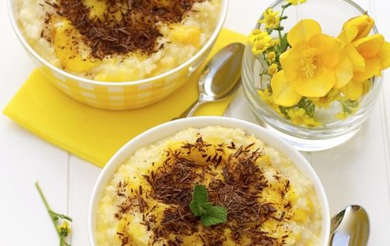 Pudding de mango y chocolate