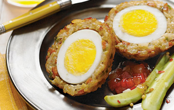 Bolas de huevo y arroz