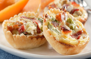 Mini quiche de bacon y champiñones