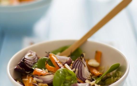 Arroz pilaf y verduras asadas