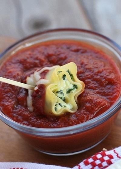Rolls de lasagna, espinaca y ricotta