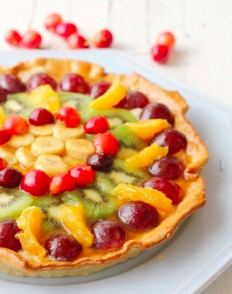 Tarta de frutas coloridas