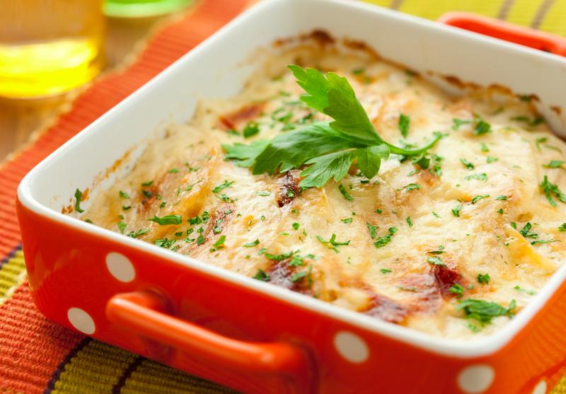 Coliflor con salsa blanca al horno